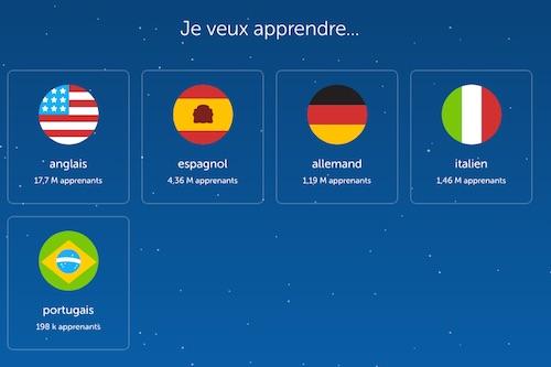 Liste langues Duolingo
