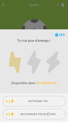 Plus d'energie Duolingo