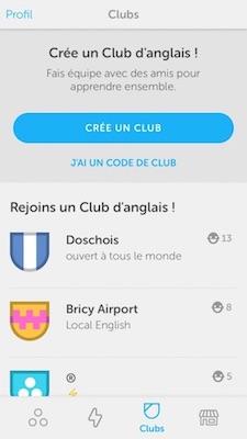 Rejoindre un club Duolingo