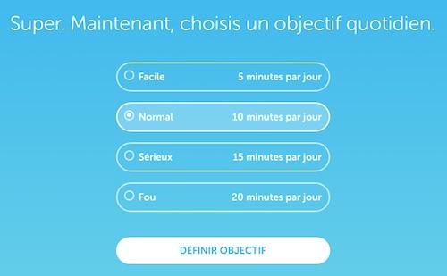 Choix objectif duolingo