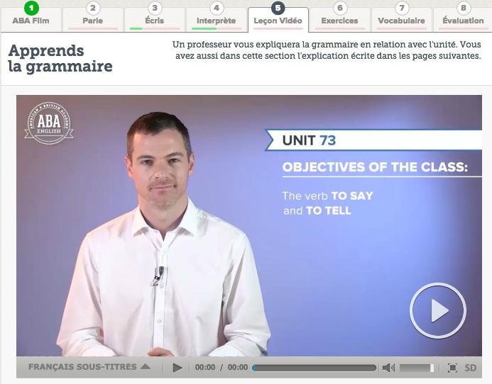 Etape 5 - Leçon vidéo - apprendre la grammaire ABA English