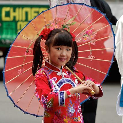 Fille enfant nouvel an chinois