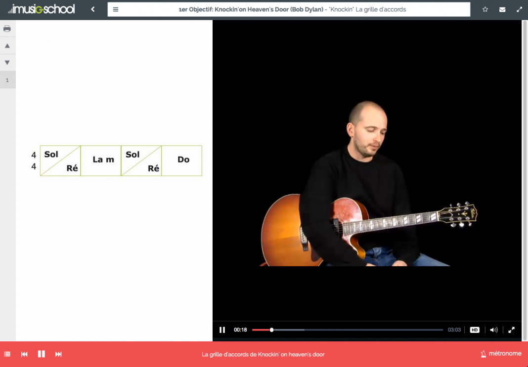 imusic-school exemple d'interface
